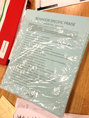 Behavior Specific Praise Page